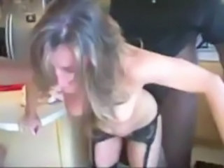 Doggystyle Interracial Kitchen Stockings Threesome Wife