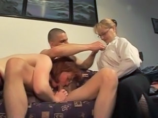Blowjob European German Glasses Mature Mom Old and Young Threesome