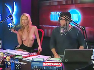Radio hosts have fun with a cute busty blonde tubes