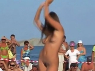Beach Dancing Nudist