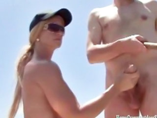Amateur Beach Handjob Nudist Outdoor Wife