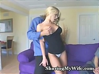 Young blonde wife screws a hunky guy and makes her husband watch