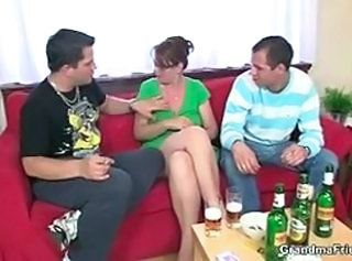 Drunk Glasses Mature Mom Old and Young Threesome