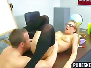 Blonde Glasses Licking School Student Teen