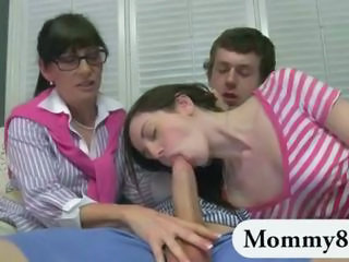 Big cock Blowjob Daughter Family Glasses Mature Mom Old and Young Sister Teen Threesome