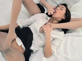 Babe Clothed Legs Lesbian Pantyhose Skinny Student Teen Uniform