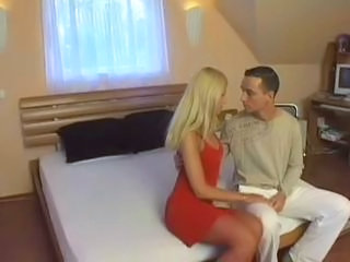 Stacy Is A Young Lovely Slutty Bitch Wearing Red Stockings Who Gets Pounded By Her Man