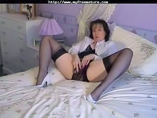 Lingerie Masturbating MILF Solo Stockings