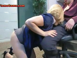 Blowjob Clothed Office Pantyhose Secretary