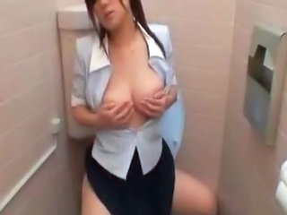 Asian Masturbating MILF Secretary Toilet