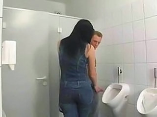 Brunette European German Handjob Toilet