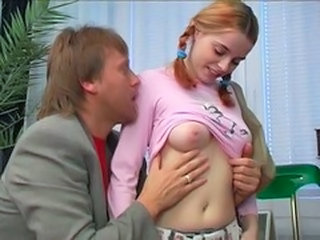 Daddy Old and Young Pigtail Redhead Teen