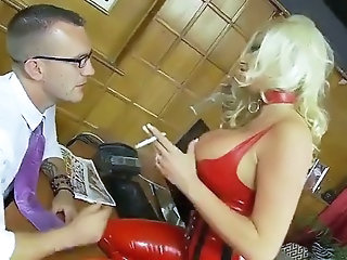 British Michelle Thorne gets fucked in kinky gear