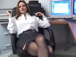 Amateur MILF Office Secretary Skirt Stockings