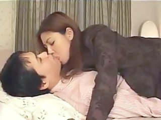 Asian Japanese Kissing MILF Wife