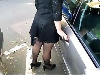Car Outdoor Stockings Upskirt