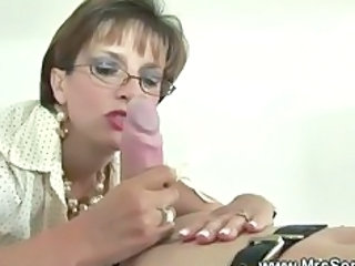 British European Glasses Handjob MILF