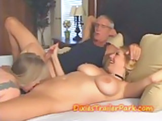 Big Tits Handjob Licking Old and Young Threesome