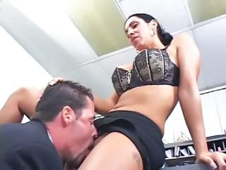 Big Tits Brunette Licking MILF Office Secretary