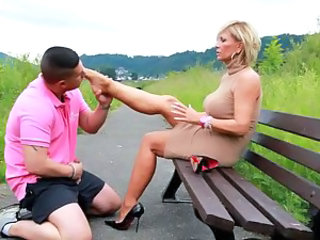 European Feet Fetish German MILF Public