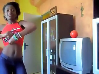 Dancing Ebony Skinny Teen