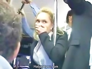Cute blond business woman fingered to orgasmus on pub...