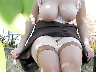 Big Tits Natural Outdoor Stockings