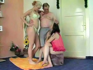 Family Homemade Old and Young Threesome