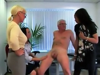 Femdom handjob sluts give it to grandpa indulging his cfnm fetish
