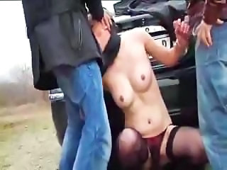 Blowjob Car French Outdoor Stockings Threesome