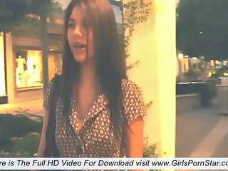 Shyla shows her super sexy boobs while walking down the street to a restaurant and then says many interesting things