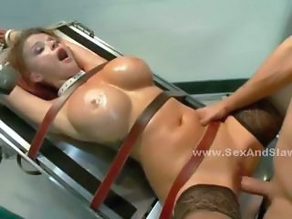 Doctor and assistant take busty naughty patient and punish her fucking her brutally in extreme threesome sex in all her holes including her tight ass in double penetration and spanking video scene