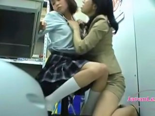 Asian Lesbian MILF Old and Young School Student Teen Uniform