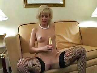 Dildo European Fishnet German MILF Small Tits Stockings Toy