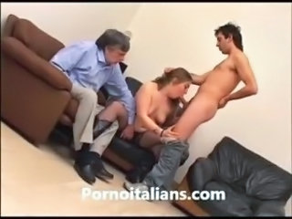 Blowjob Daddy Daughter European Family Italian Old and Young Threesome