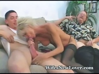 Big cock Blowjob Cuckold MILF Older Old and Young Stockings Wife
