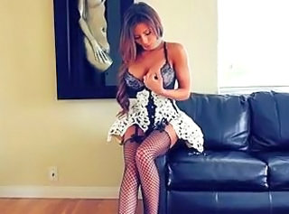 Amazing Big Tits Fishnet Lingerie Maid Pornstar Silicone Tits Stockings
