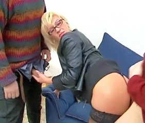 Ass Blonde Clothed European Glasses Handjob Italian MILF Threesome