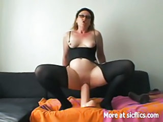 Amateur Chubby Dildo Glasses Masturbating Pantyhose SaggyTits Toy