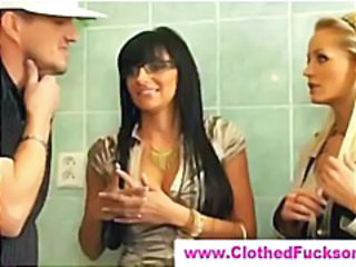 Clothed MILF Threesome