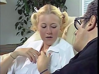 Blonde Daddy Daughter Old and Young Pigtail School Teen