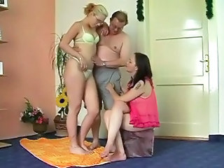 Lingerie Old and Young Threesome