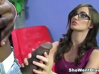 Amazing Big cock Cute Glasses Handjob Interracial Pornstar