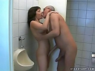 Big cock Daddy Kissing Old and Young Public Teen Toilet Young