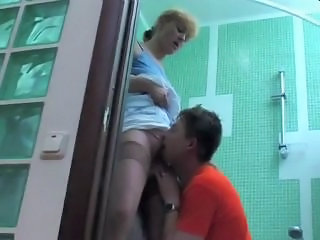Bathroom Clothed Licking Mature Mom Old and Young Russian Stockings