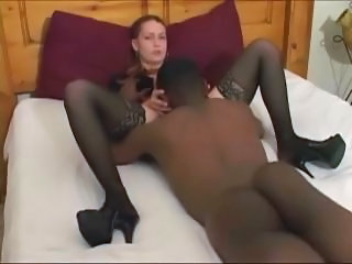 Amateur Interracial Licking Stockings