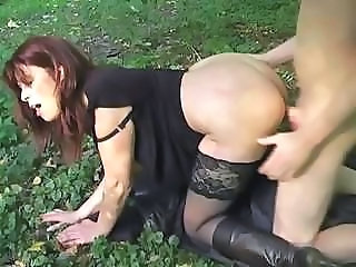 Doggystyle Hardcore MILF Outdoor Stockings