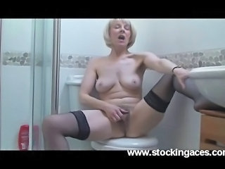 Bathroom Masturbating Mature Orgasm Stockings