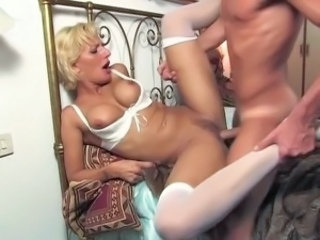 Blonde European Hardcore Italian MILF Stockings