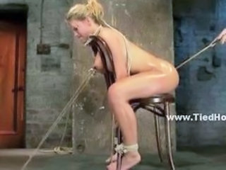Blonde whore immobilized fucked in the mouth and brutalized in ki